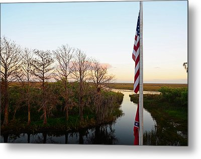 Old Glory And Cypress Metal Print by Ken  Collette