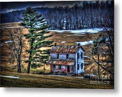 Old Home Place Beside Pine Tree Metal Print by Dan Friend