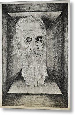 Old Man Head In Box Metal Print by Glenn Calloway