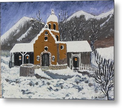 Old Mission In Winter Metal Print by Mary M Collins