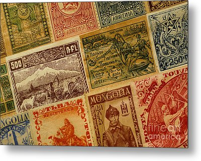 Old Postage Stamps From Around The World Metal Print