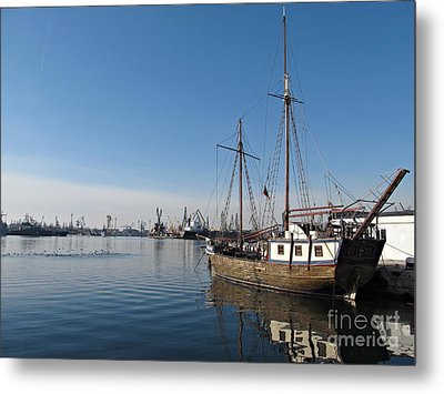 Old Ship In Calm Water Harbor Metal Print by Kiril Stanchev