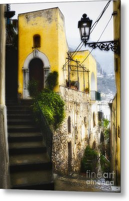 Old Street In Positano Metal Print by George Oze