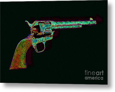 Old Western Pistol - 20130121 - V1 Metal Print by Wingsdomain Art and Photography