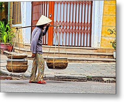 Old Woman In Hoi An Vietnam Metal Print by Fototrav Print