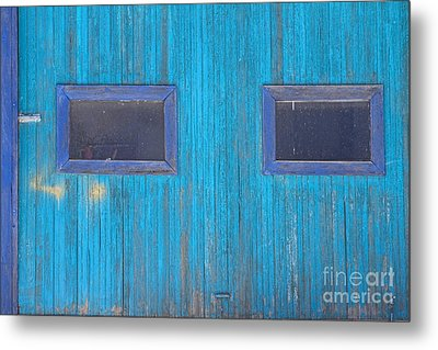 Old Wood Blue Garage Door Metal Print by James BO  Insogna