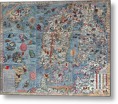 Old World Art Map  Metal Print by Inspired Nature Photography Fine Art Photography