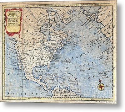 Old World Map Of North America Metal Print by Inspired Nature Photography Fine Art Photography