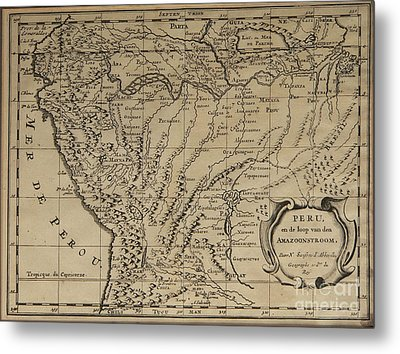 Old World Map Of Peru Metal Print by Inspired Nature Photography Fine Art Photography