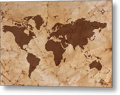 Old World Map On Creased And Stained Parchment Paper Metal Print