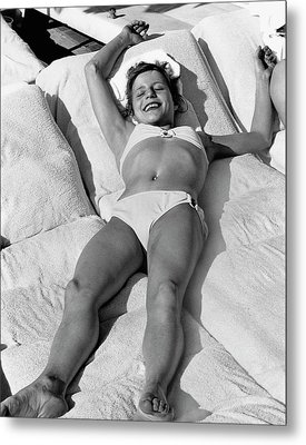 Olga Korbut Lying Down In The Sun Metal Print by Duane Michals