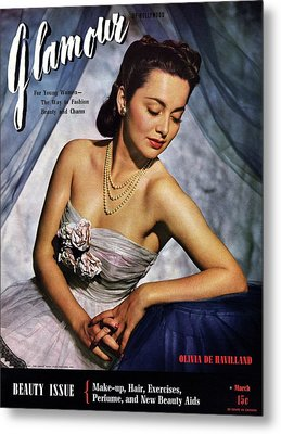 Olivia De Havilland On The Cover Of Glamour Metal Print by Scotty Welbourne