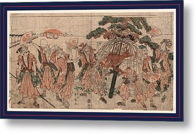 Omatsuri Shozoku No Shichifukujin Metal Print by Katsukawa Shunsen (1762-1830), Japanese