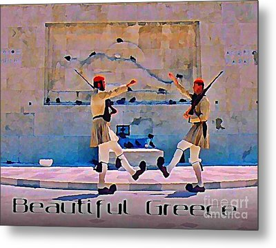 On Guard At The Athens Capitol Metal Print by John Malone
