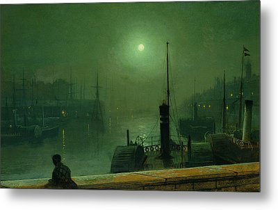 On The Clyde, Glasgow, 1879 Metal Print by John Atkinson Grimshaw