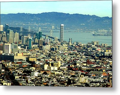 On Twin Peaks Over Looking The City By The Bay Metal Print by Jim Fitzpatrick