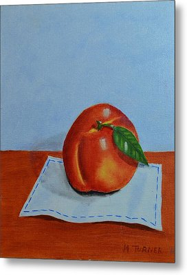 One Leaf Peach Metal Print