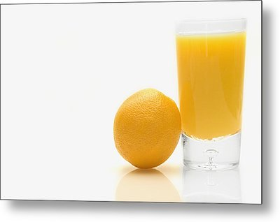 Orange And Orange Juice Metal Print by Darren Greenwood