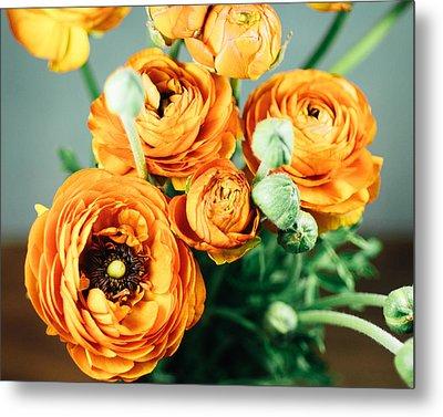 Orange Ranunculus Bouquet Metal Print by Nastasia Cook