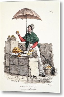 Orange Seller, Print Made By Delpech Metal Print by Carle Vernet