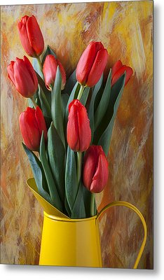 Orange Tulips In Yellow Pitcher Metal Print by Garry Gay