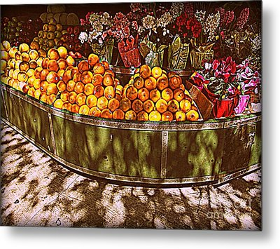 Oranges And Flowers Metal Print by Miriam Danar
