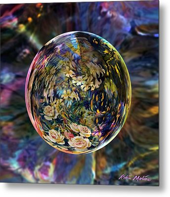 Orb Of Roses Past Metal Print by Robin Moline