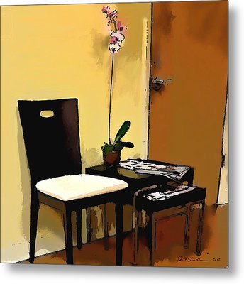 Orchid By A Chair Metal Print