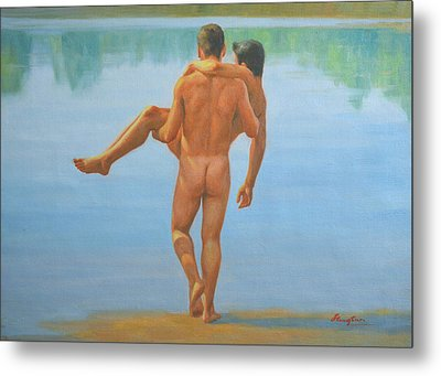 Original Oil Painting Man Body Art -male Nude By The Pool -073 Metal Print