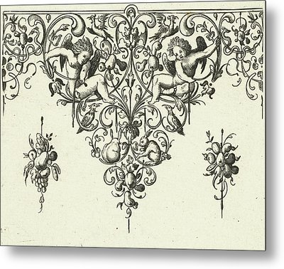 Ornament Featuring Two Cherubs, Michiel Le Blon Metal Print by Michiel Le Blon And Anonymous And Balthasar Caymox