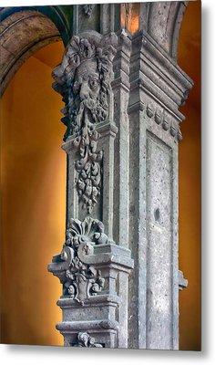 Ornate Mexican Stone Column Metal Print by Lynn Palmer
