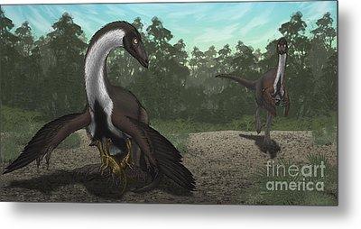 Ornithomimus Mother Dinosaur Metal Print by Vitor Silva