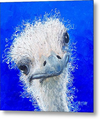 Ostrich Painting 'waldo' By Jan Matson Metal Print by Jan Matson