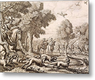 Otter Hunting By A River, Engraved Metal Print