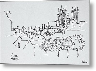 Overview Of The City, Nantes, France Metal Print