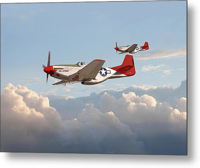 P51 Mustangs - Red Tails Metal Print by Pat Speirs