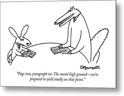 Page Two, Paragraph Six: The Moral High Ground - Metal Print by Charles Barsotti