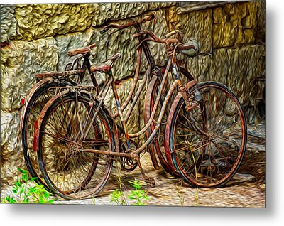 Painted Bikes Metal Print by Debra and Dave Vanderlaan