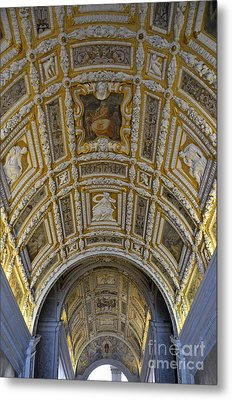 Painted Ceiling Of Staircase In Doges Palace Metal Print