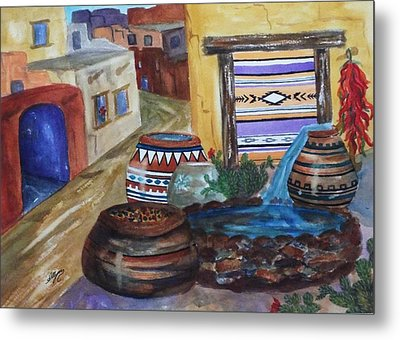 Painted Pots And Chili Peppers II  Metal Print by Ellen Levinson