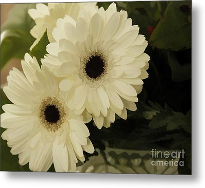 Painted White Flowers Metal Print by Nancy Dempsey