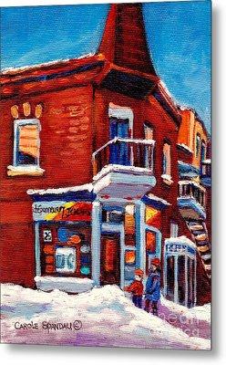 Paintings Of Verdun Depanneur 7 Jours Montreal Winter Street Scenes By Carole Spandau Metal Print by Carole Spandau