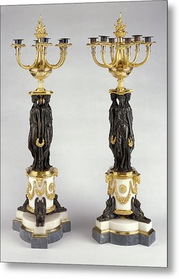 Pair Of Candelabra Attributed To Pierre-philippe Thomire Metal Print by Litz Collection