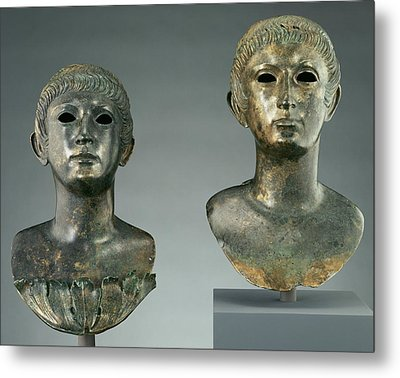 Pair Of Portrait Busts Of Youths And Two Marble Eyes Metal Print