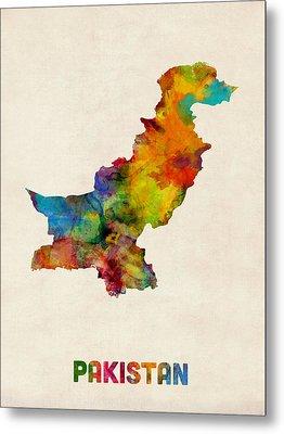 Pakistan Watercolor Map Metal Print by Michael Tompsett