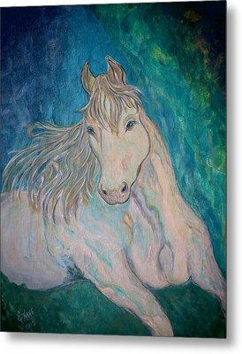 Metal Print featuring the painting Palomino Thunder by Ella Kaye Dickey