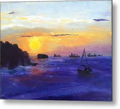 Metal Print featuring the painting Panama Sunrise by MaryAnne Ardito