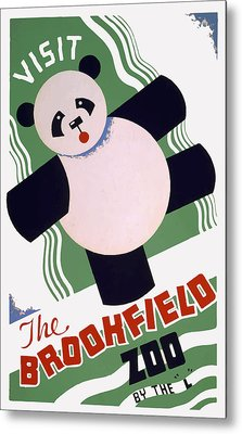 Metal Print featuring the painting Panda At Brookside by American Classic Art