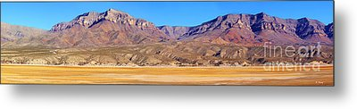 Panorama Sierra Caballo Mountains And Dry Lake Bed Metal Print by Roena King