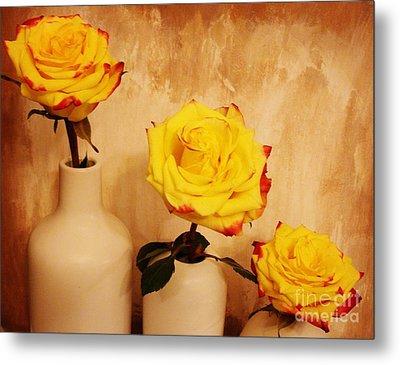 Papa Mama Baby Roses Metal Print